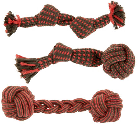 Martha Stewart Set of 3 Assorted Rope Toys for Small Dogs