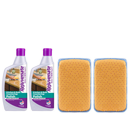 Rejuvenate Set of 2 16-oz Countertop Polishes &2 Chamois Pads