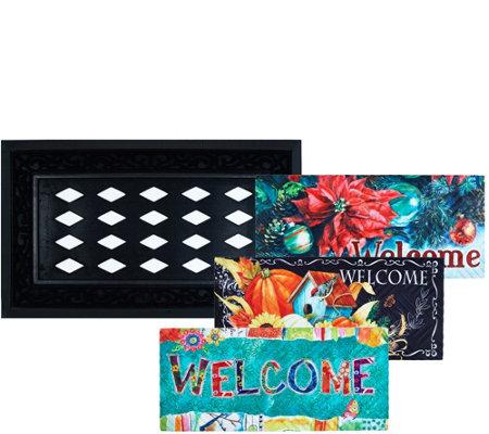 Sassafras Door Mat With 3 Decorative Inserts By Evergreen