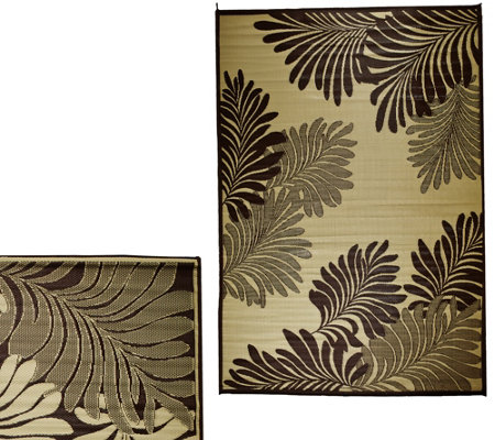 Barbara King Leaf 5'x 8' Reversible Outdoor Mat