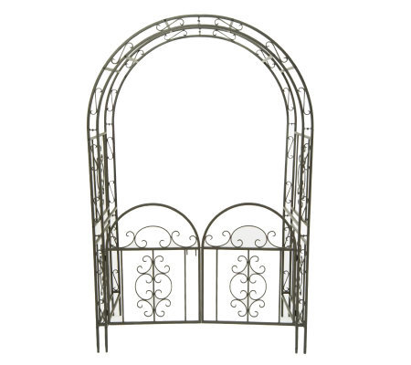 Plow   Hearth Iron Montebello Garden Arbor With Gate product M29467 on qvc lori goldstein