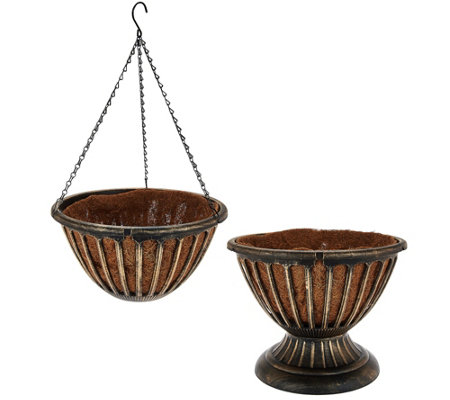 Ultimate Innovations S/2 AquaSav Hanging Basket & Urn Set