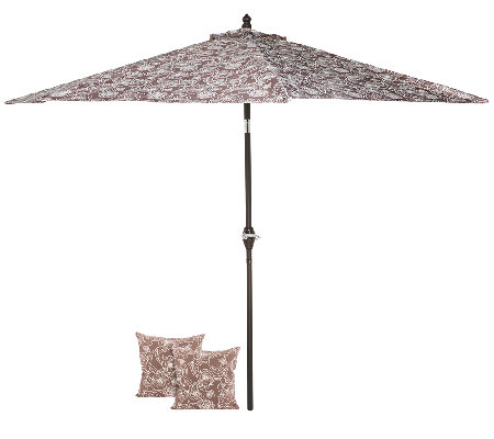 ATLeisure 9' Crank & Tilt Floral Patio Umbrella w/ 2 Pillow Covers
