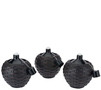 Scott Living Set of 3 Woven Table Top Oil Lamps - M46568