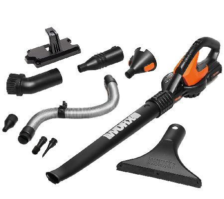 Worx Air 20V Cordless BlowerSweeper w Wall Bracket 8 Attachments