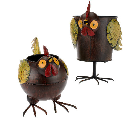 Plow & Hearth Set of 2 Weather Resistant Rooster Planter