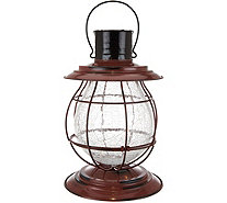 Multi-Function Metal and Crackle Glass Lantern by Exhart - M51874