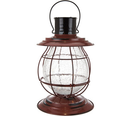 Multi-Function Metal and Crackle Glass Lantern by Exhart