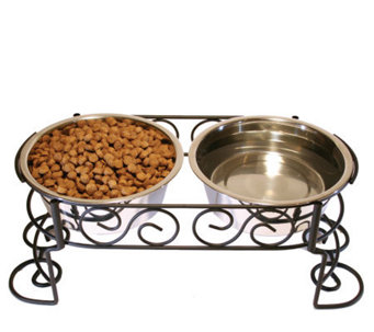 Scrollwork Double Diner 2-qt Dog Dish - M109276