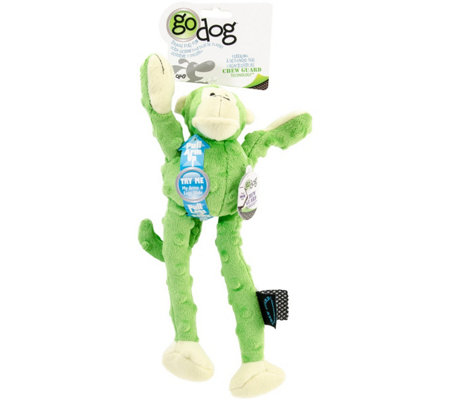 goDog Crazy Tugs Small Lime Monkey with Chew Guard Tech