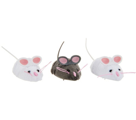 Set of 3 Interactive Robotic Mice Cat Toys
