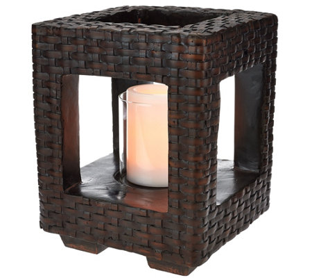 "Scott Living 10"" Woven Lantern with Glass Hurricane and Timer"