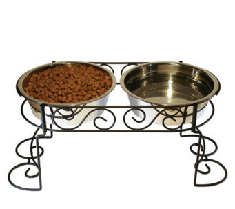 Scroll Work Double Diner 3-qt Dog Dish - M109278