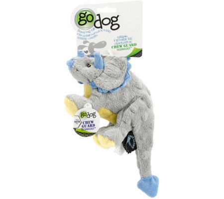 goDog Small Gray Dino Frills with Chew Guard Tech