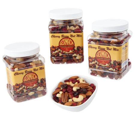 Germack (3) 16oz. Jars Cherry Berry Unsalted Nut Mix