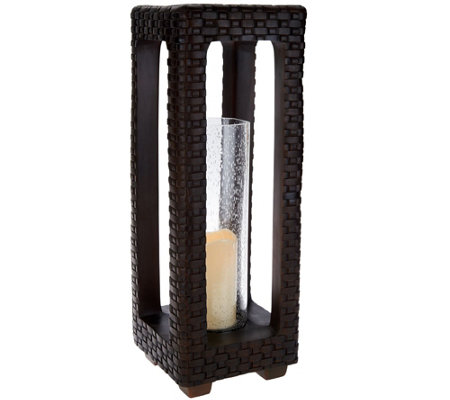 "Scott Living 23"" Woven Lantern with Glass Hurricane and Timer"