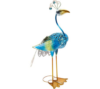 Hand Painted Metal & Glass Bird Garden Statue - M49579