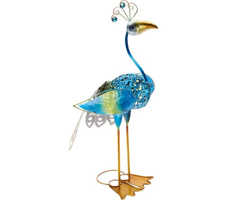 Hand Painted Metal & Glass Bird Garden Statue