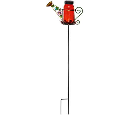2-in-1 Solar Mason Jar Watering Can Tabletop and Garden Stake
