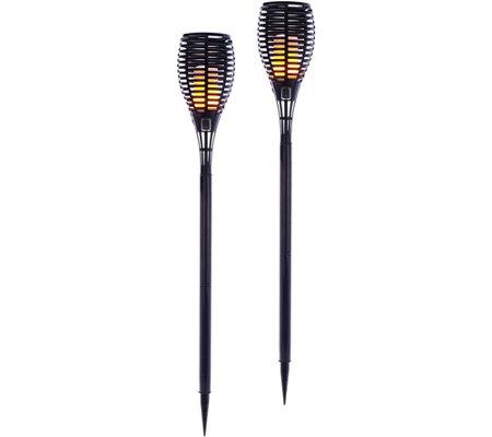 barbara king set of 2 illuminated tiki torches