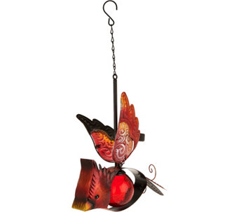 Solar Glass & Metal Hanging Bird - M52379