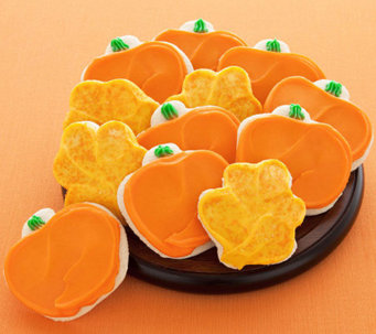 Cheryl's 24 Buttercream Frosted Leaf/Pumpkin Shaped Cookies - M112682