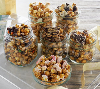 Hampton Popcorn Set of 6 Gourmet Holiday Popcorn Tubes - M51482