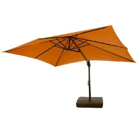 Delightful ATLeisure Olefin 8u0027x11u0027 Rectangular Offset Umbrella With Base