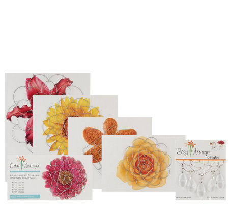 Easy Arranger Set of 5 Floral Arranging Guides with Crystal Gems