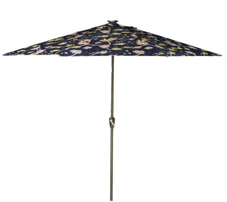 ATLeisure 10' Floral Vine Print Market Umbrella w/Solar Lights