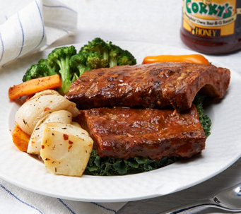 Ships 12/12 Corky's BBQ (5) 1 lb. Baby Back Ribs with 18 oz BBQ Sauce - M53685