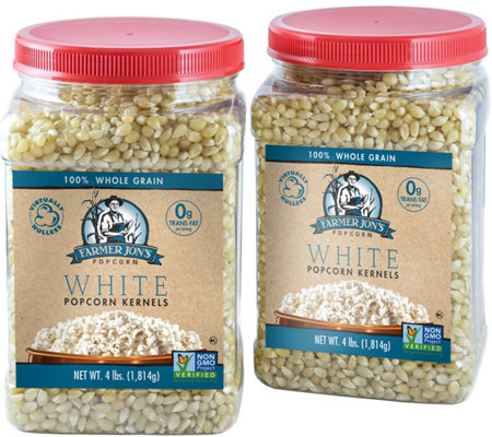 Farmer Jon's (2) 4-lb Jars - White Virtually Hulless Kernels
