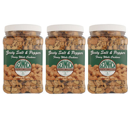 Germack (3) 16 oz. Jars of Zesty Salt and Pepper Cashews