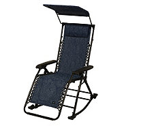 """As Is"" Bliss Hammocks Rocking Gravity Free Recliner with Canopy - M120091"