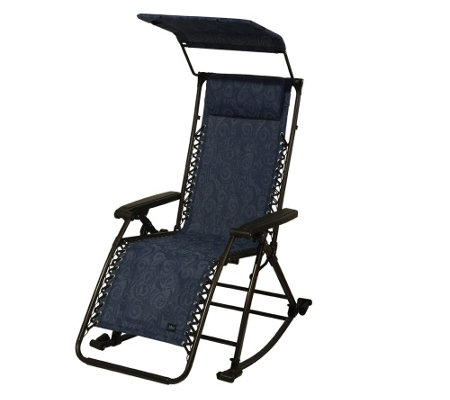"""As Is"" Bliss Hammocks Rocking Gravity Free Recliner with Canopy"