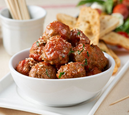 Mama Mancini's 80 Count Beef or Turkey Mini Meatballs with Sauce