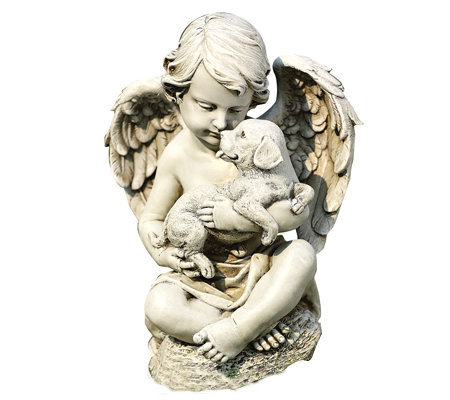 "14"" Cherub with Puppy Figurine by Roman"