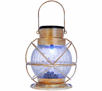 Compass Home Solar Color Changing Crackle Glass Lantern - M49695