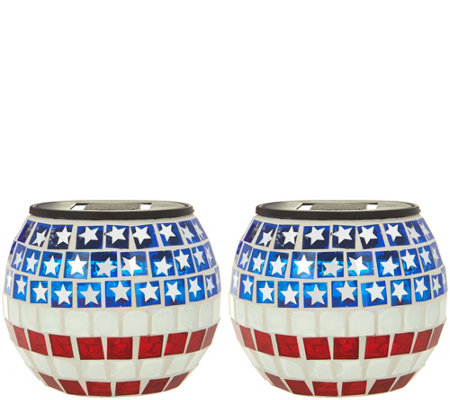 Paradise Set of 2 Solar Patriotic Tile Glass Jars