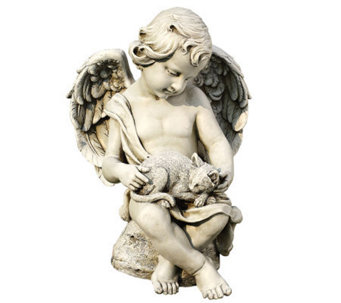 "14"" Cherub with Kitten Figurine by Roman - M110996"
