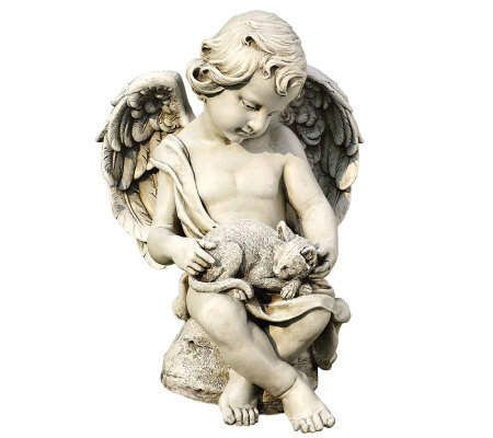 "14"" Cherub with Kitten Figurine by Roman"