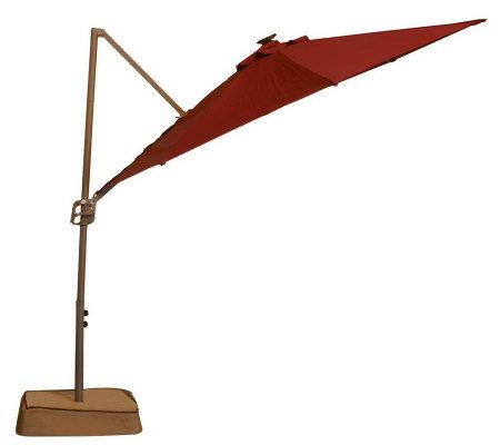 southern patio 10 39 easy tilt solar offset umbrella with solar lights page 1. Black Bedroom Furniture Sets. Home Design Ideas