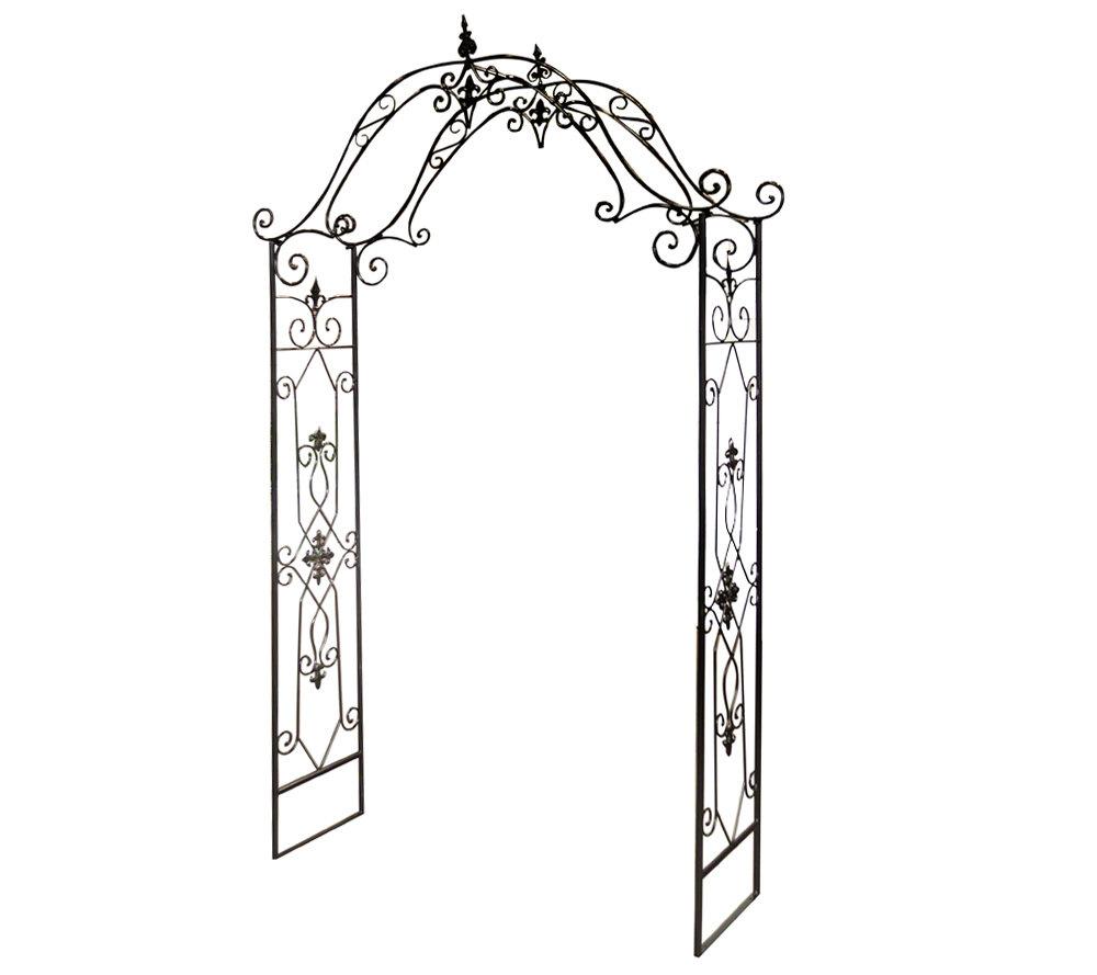 8 fleur de lis wrought iron garden arch trellis qvc com