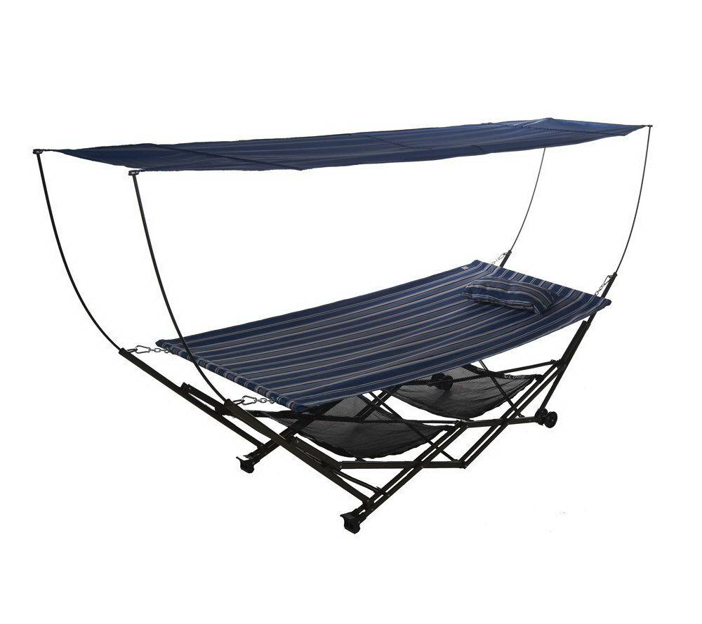 bliss hammocks stow ez hammock with canopy  u0026 wheels   page 1  u2014 qvc    rh   qvc