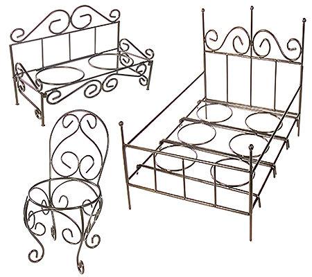 Garden Furniture Qvc set of 3 mini garden furniture flowerpot holders — qvc