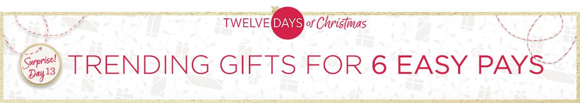 Twelve Days of Christmas Surprise! Day 13 — Trending Gifts for 6 Easy Pays