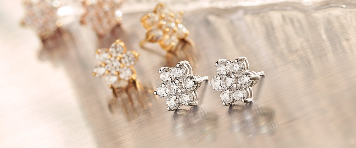 Diamonique Floral Stud Earrings, Sterling or 14K Gold Clad QVC2 BIG DEAL™