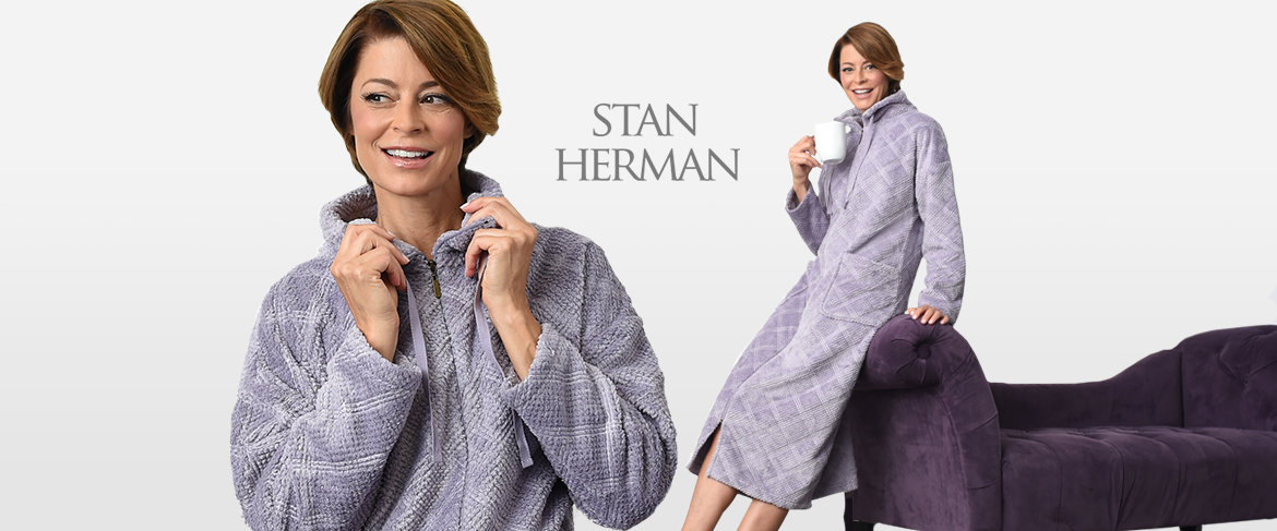 Stan Herman Cowl Neck Full Zip Diamond Plush Robe