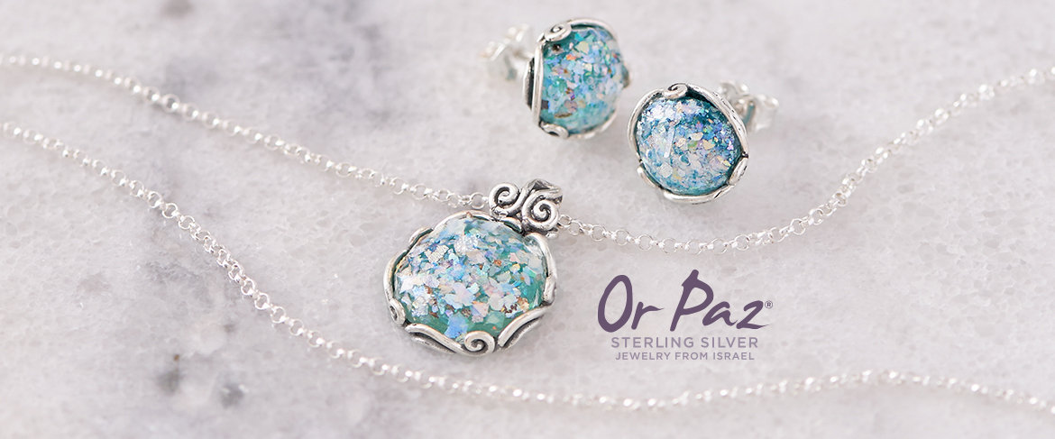Sterling Roman Glass Necklace & Earrings Set by Or Paz
