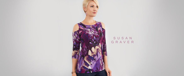 QVC2 Big Deal™ — Susan Graver Printed Liquid Knit Cold Shoulder Scoop Neck Top